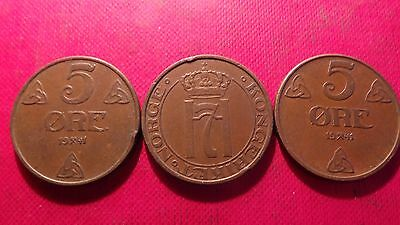 Norway, 3 x 5 Ore, Bronze, Coins, all 1941.