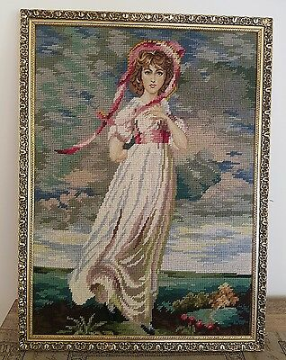 Antique tapestry framed wall hanging