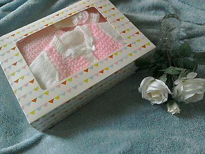 Gorgeous new hand-knitted shawl/blanket set for your baby girl,