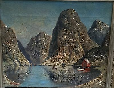 Norwegen Fjord Landschaft H. Elmblad Ölgemälde Um 1890 Norway Painting Oil