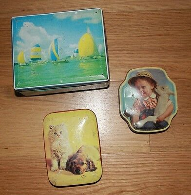 3 x  Old pictorial  Biscuit and Sweet Tins Vintage