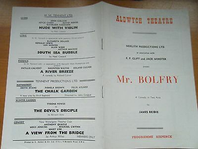 Aldwych Theatre, Programme for Mr Bolfry 1956
