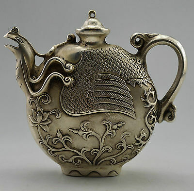 Collectible Decorated Old Handwork Tibet Silver Carved Phoenix Tea Pot
