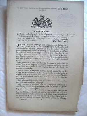 The Uxbridge and Rickmansworth Railway Act 1886. Historic Railway Act.