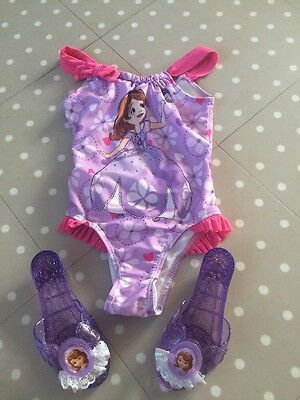Disney Sophia The First Swimming Costume And Sophia Shoes age 5-6