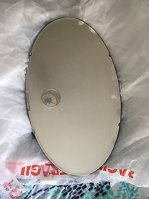 Oval Antique (30s/40s) Mirror, With Bevelled Edge And Original Fixtures