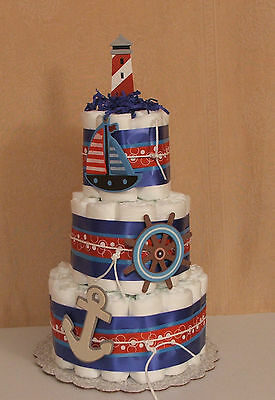3 Tier Diaper Cake Baby Shower Centerpiece Nautical, Ahoy Mates Sail Away Theme