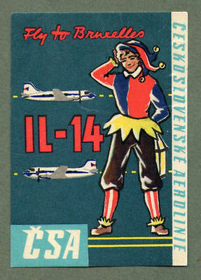 Airline luggage label CSA to Brussels #220