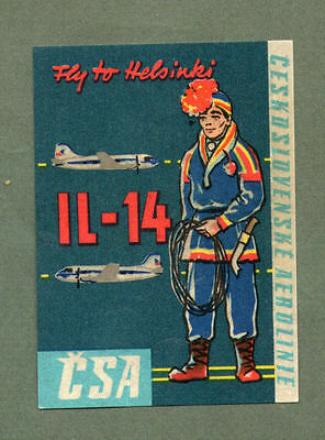 Airline luggage label CSA to Helsinki  #675