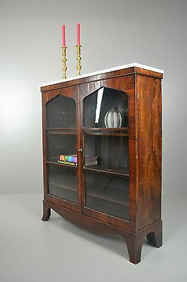 Antique Rosewood Glazed Marble Top Bookcase