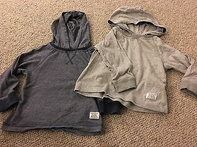 Pair Of Baby Boys Hooded Tops Grey & Navy Size 12 - 18 Months