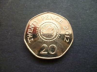 GUERNSEY 2012 GOOD CIRCULATED 20p COIN. 2012 TWENTY PENCE PIECE FROM GUERNSEY