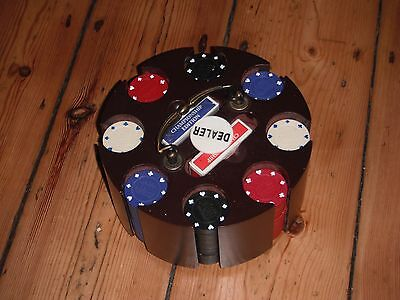 Poker Chip Set in Wooden Carousel Case 4 colour chip stacks 2 packs of cards