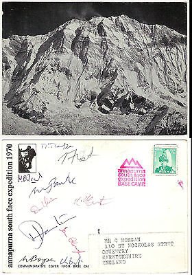 1970 Annapurna South Face expedition card signed by Bonington and 9 others