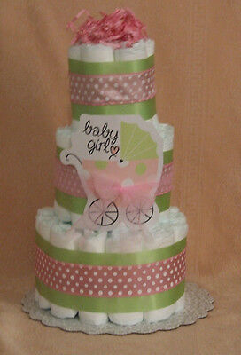 3 Tier Diaper Cake Lime Green & Pink Baby Carriage Stroller, Buggy Centerpiece