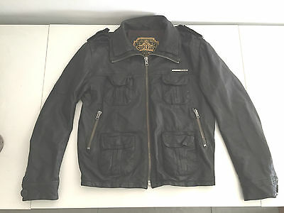 Mens Brown Leather Superdry Brad Zipper Jacket Size Xl