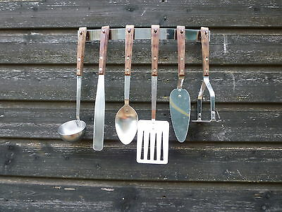 Vintage Prestige Wooden Handled Utensils x 6 and Stainless steel Hanging Rack