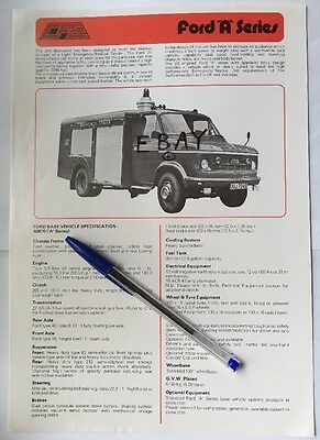 Fire Brigade Memorabilia Ford A Series ET Specifications Brochure Leaflet