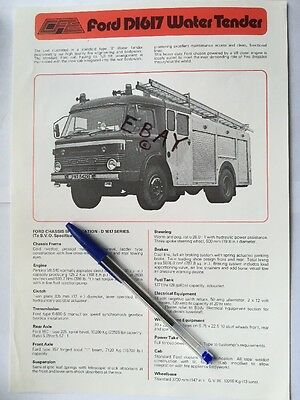 Fire Brigade Memorabilia Ford D1617 Tender Specifications Brochure Leaflet