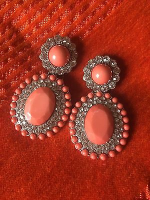 Vintage Crystal And Coral Style Earrings
