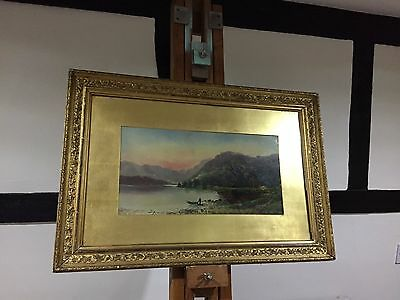 Antique 19th C  Oil On Board Painting Of A Loch Scene Signed D Motley 1881