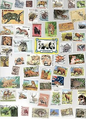 ANIMALS on Stamps 150 All Different and off Paper