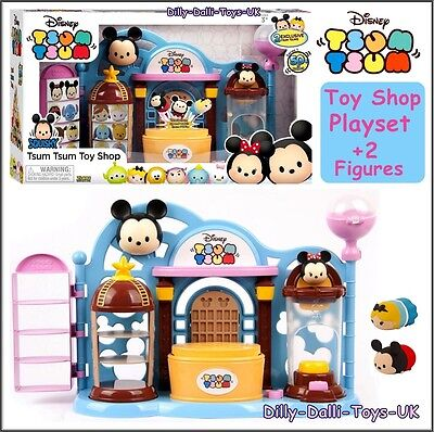 Disney TSUM TSUM Squishies Toy Shop Play House Set Alice Mickey Mouse Figure NEW