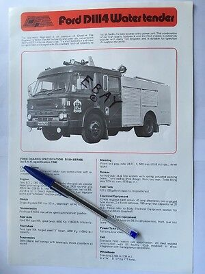 Fire Brigade Memorabilia Ford D1114 Fire Engine Specifications Brochure Leaflet