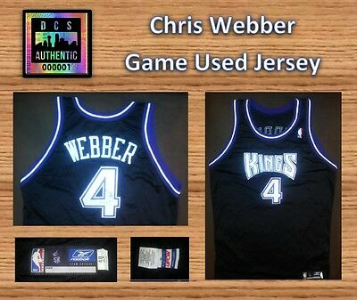 Chris Webber Road Game Used Jersey Black Sacromento Kings # 4 with Autograph