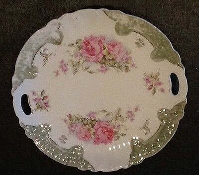 Shabby Vintage Look!  Pink&Green Ornate Handled Cake Plate~Unmarked