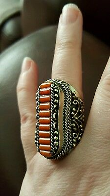 Nepalese Silver And Coral Chunky Tribal Ring