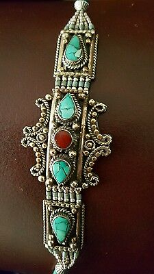 Nepalese Silver And Coral And Turquoise  Chunky Tribal Bracelet. Small Size