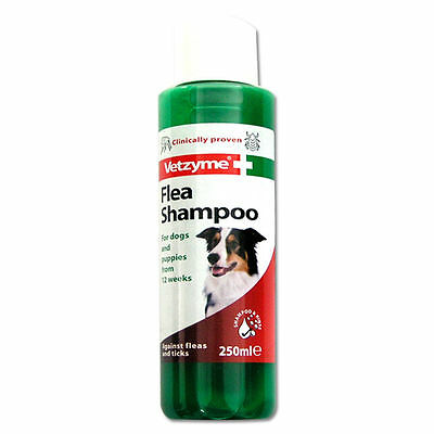 Vetzyme Dog Flea Shampoo 250ml - Clinically Proven Dogs & Puppies Over 12 Weeks
