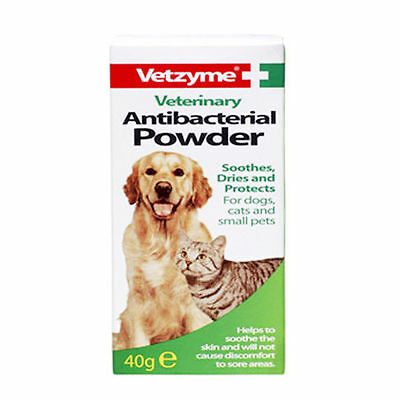 Vetzyme Antibacterial Powder 40g - Veterinary Cat Dog Skin Coat Care Itch Remedy