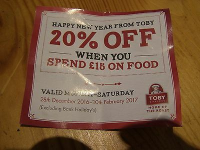 Voucher for 20% off at any Toby Carvery valid until 10.2.17