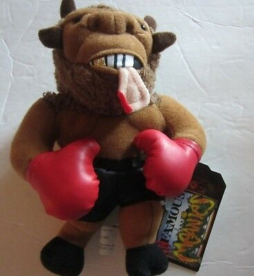 """1998 INFAMOUS MEANIES MIKE BISON PLUSH BEANIE toy  7"""" Free Shipping"""