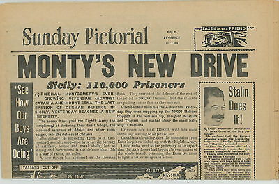 Vintage 1943 Newspaper   Sunday Pictorial   Ww2  July 25 1943  16 Pages
