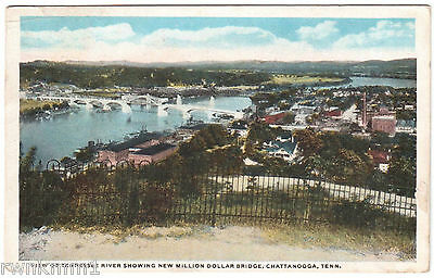 AK US USA Post Card Tennessee River New Million Bridge Chattanooga gel.