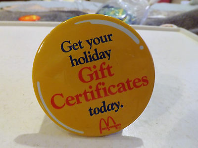 3 Inch Metal McDonalds Pin - Get your holiday Gift Certificates today.