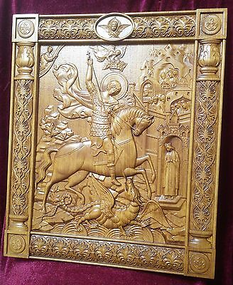 Icon Saint George and the Dragon 3D Art Orthodox Wood Carved in kiot 10""