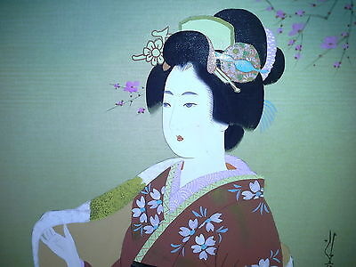Atq Japanese Painting Original Signed Japan Geisha Hand Painted UNFRAMED