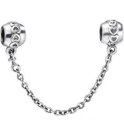 Silver Love Hearts Genuine s925 Hallmarked Bracelet Safety Chain +Gift Pouch