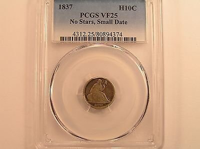 1837 H10C No Stars Small Date Liberty Seated Half Dime PCGS VF25
