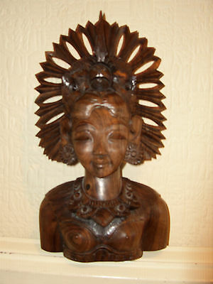 Vintage Balinese Wood Carving with free mini mask
