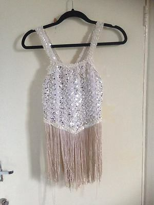 Vintage sequin 1920s flapper style white top tassels S