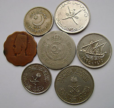 LOT 7 ARABIC COINS- OMAN,KUWAIT,JORDAN.....and OTHER