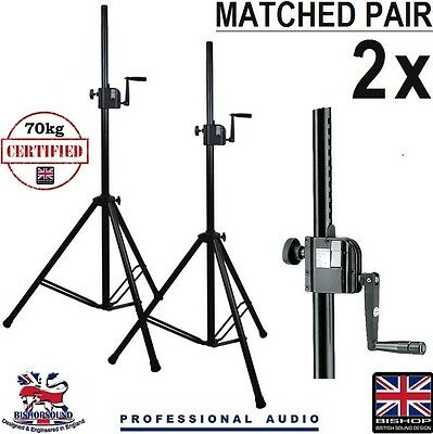 Bishopsound (GigStands) 70Kg Winch Speaker Stands 35mm Tripod (Pair)