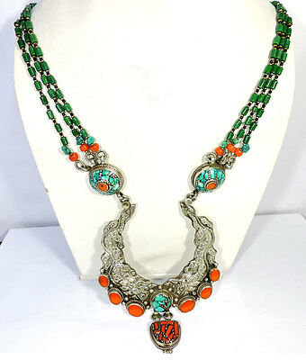 Natural Turquoise & Coral,malachit Gemstone 925 Tibetan Silver Long Necklace