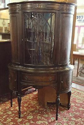 Early 1900's Small China / Curio Cabinet With Inlay