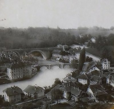 Bridge of Nysdec (Nydec?), Berne, Switzerland, Magic Lantern Glass Slide